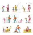 fatherhood elements set vector image vector image