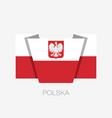 flag of poland with eagle flat icon waving flag vector image