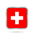 Flag of Switzerland Metallic gray square button vector image