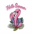 flamingo hello summer vector image vector image