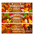 friendsgiving holiday banners with food vector image