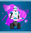 futuristic humanized robot with wheels artificial vector image vector image