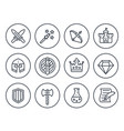 game line icons on white rpg fantasy swords vector image vector image