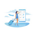 girl looks at flight information on smartphone vector image vector image