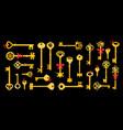 golden keys on black background vector image vector image