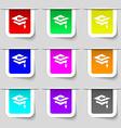 Graduation icon sign Set of multicolored modern vector image