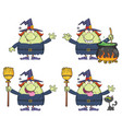 halloween witch cartoon character collection - 2 vector image vector image