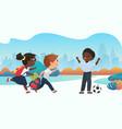 happy children playing together in schoolyard vector image vector image