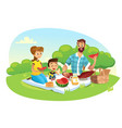 Happy family on a picnic dad mom son are