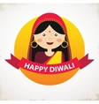 Indian Girl Celebrating Deepavali Happy vector image vector image