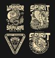 japanese fight academy vintage emblems vector image