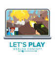 let s play blogger review concept vetor vector image