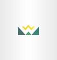 letter w mountain and sun green logo element vector image vector image