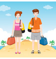male and female traveller with bag vector image vector image
