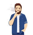 man in casual clothes smoking cigarette vector image