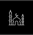 mosque line icon on black background black flat vector image
