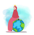 muslim woman empowered sitting on globe world map vector image