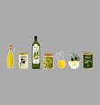 olive products collection olive oil vector image vector image