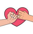 pinky promise with heart shape vector image vector image