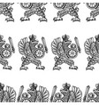 seamless pattern drawn heraldic eagle with a vector image