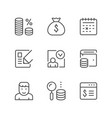 set line icons credit vector image vector image