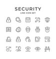 set line icons security vector image vector image