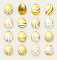 set of ornate golden realistic eggs on light vector image vector image