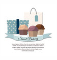set of sweet cupcake bakery badge label sweet shop vector image vector image