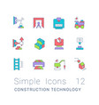 set simple line icons construction vector image vector image