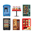 set vending machines full of products dispensers vector image vector image