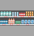 supermarket shelves with products vector image