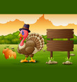 thanksgiving day background with turkey bird and p vector image vector image