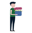 the guy carrying flowers vector image vector image