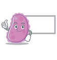 thumbs up with board bacteria character cartoon vector image vector image