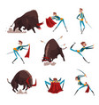 toreador with red cape and sword fighting with vector image