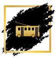 trolleybus sign golden icon at black spot vector image vector image