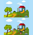 two scenes of playground with and without kids vector image vector image