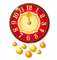 vintage wall clock decorated with golden balls vector image vector image
