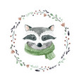 watercolor raccoon portrait vector image vector image