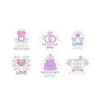wedding floral decorative logo design vector image