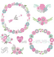 Wedding Floral Elements Labels Ribbons Hearts vector image