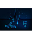 world health day banner with glowing low polygonal vector image vector image