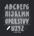 hand drawn letters writing on black school vector image