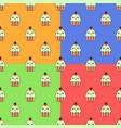 cute cupcake kawaii character seamless set pattern vector image