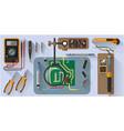 tools set for soldering chips flat design vector image