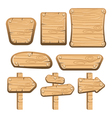 A set of wooden boards panels and signs-3 vector image