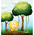 A sleepy monster at the cliff in the forest vector image vector image