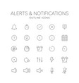 alerts and notifications line icon set vector image