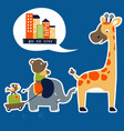 animals cartoon go to city vector image vector image