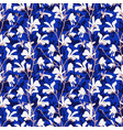 blue floral background with branch and white vector image vector image